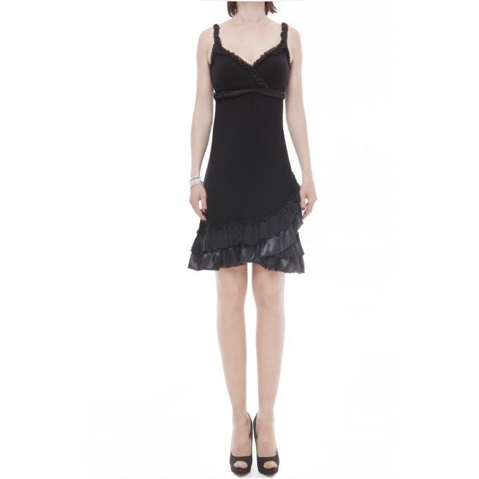 X'S MILANO - short satin black dress