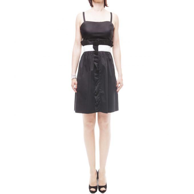 Love Moschino abito corto donna nero fascia bianca