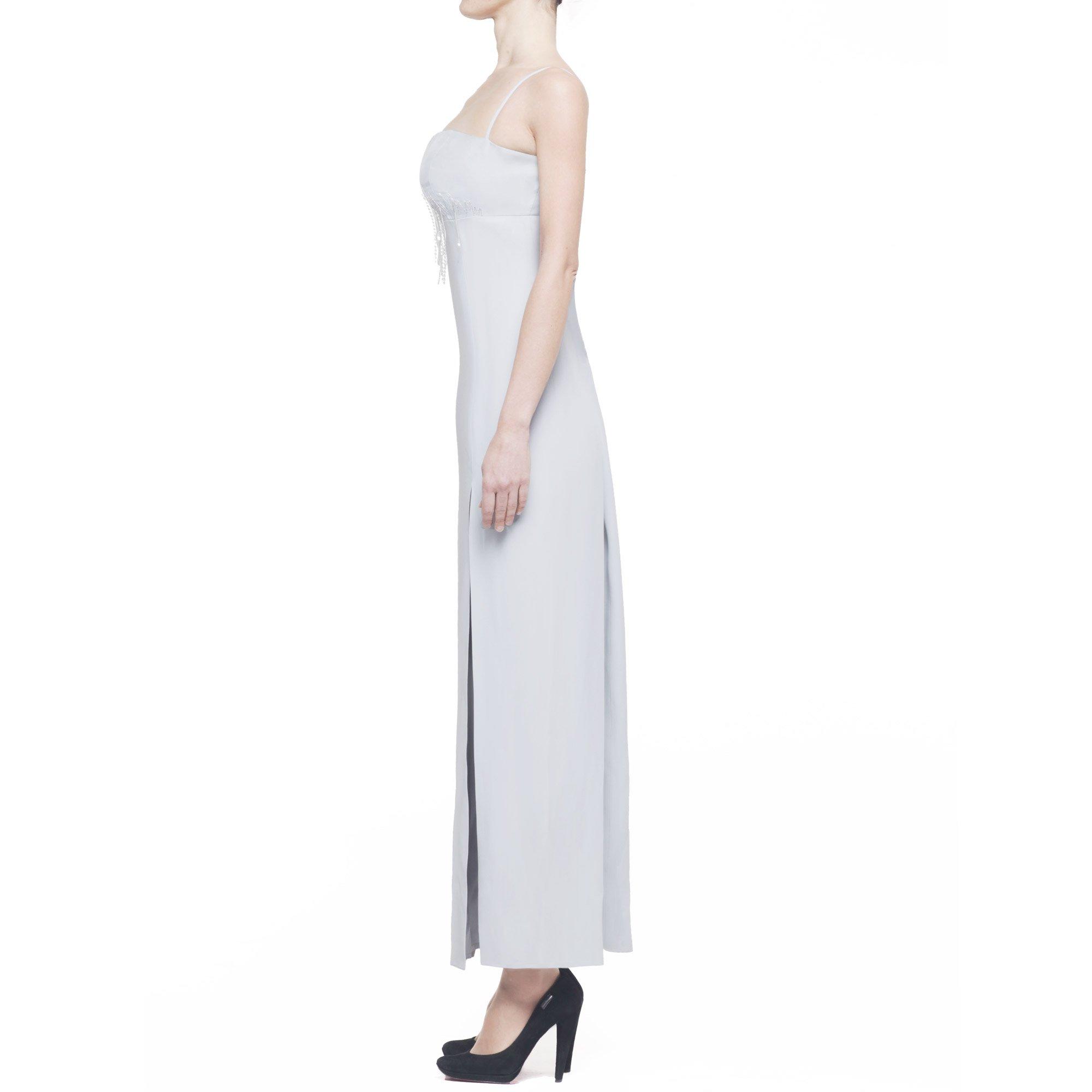 Gianfranco Ferrè Studio abito donna lungo con spacco, paillettes e strass, grigio chiaro, IT 44