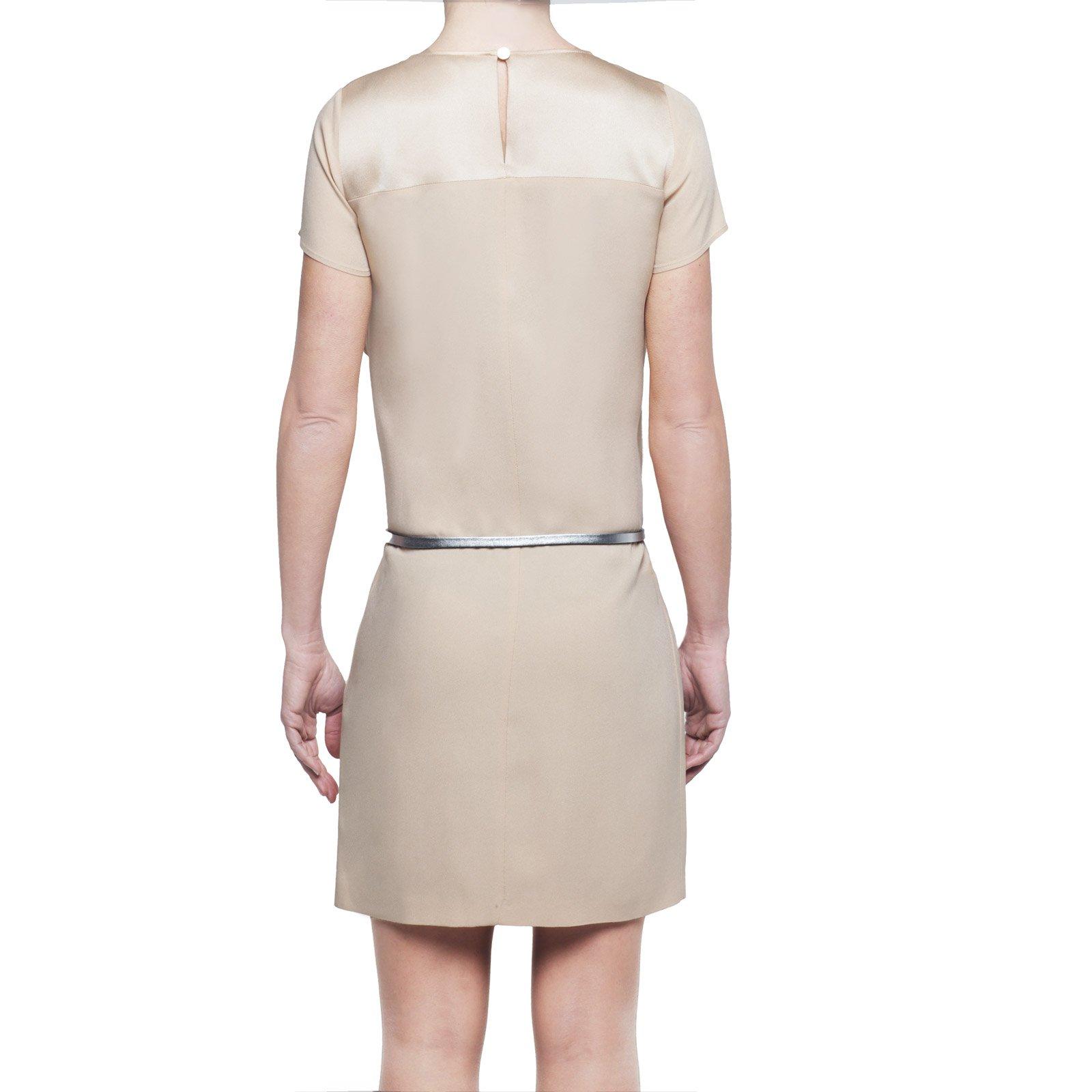 Patrizia Pepe abito corto donna beige con cintura maniche corte IT 38