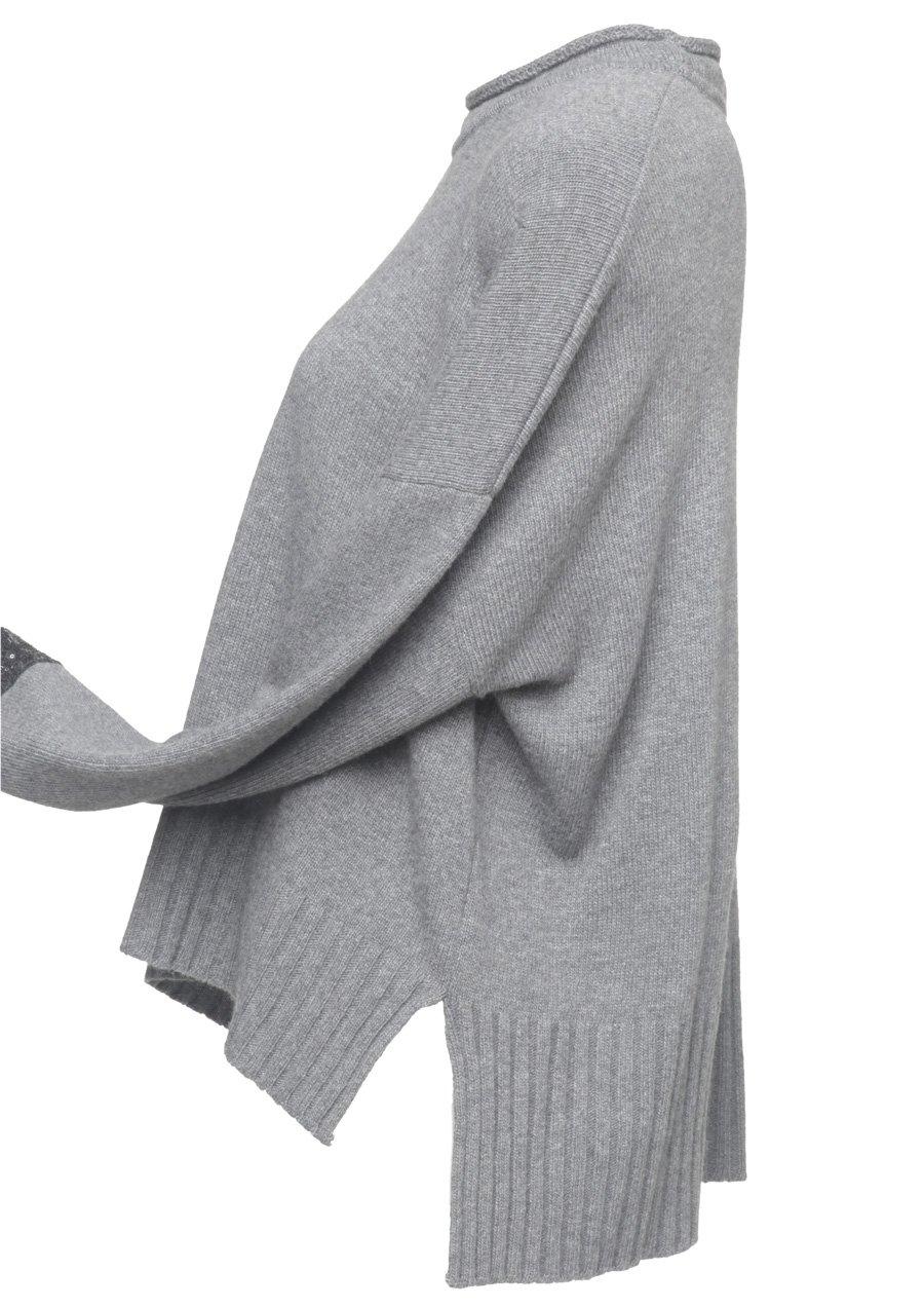 X'S Milano - maglia grigia donna boxy con passamaneria maniche