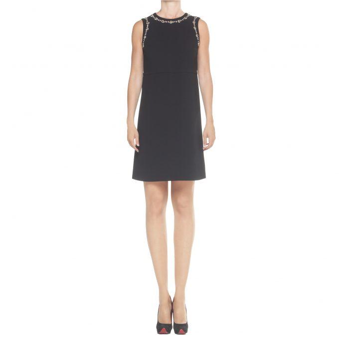 MAX MARA, tubino midi nero, abito nero donna, kankas, vestito nero donna strass, applicazioni strass vetro,