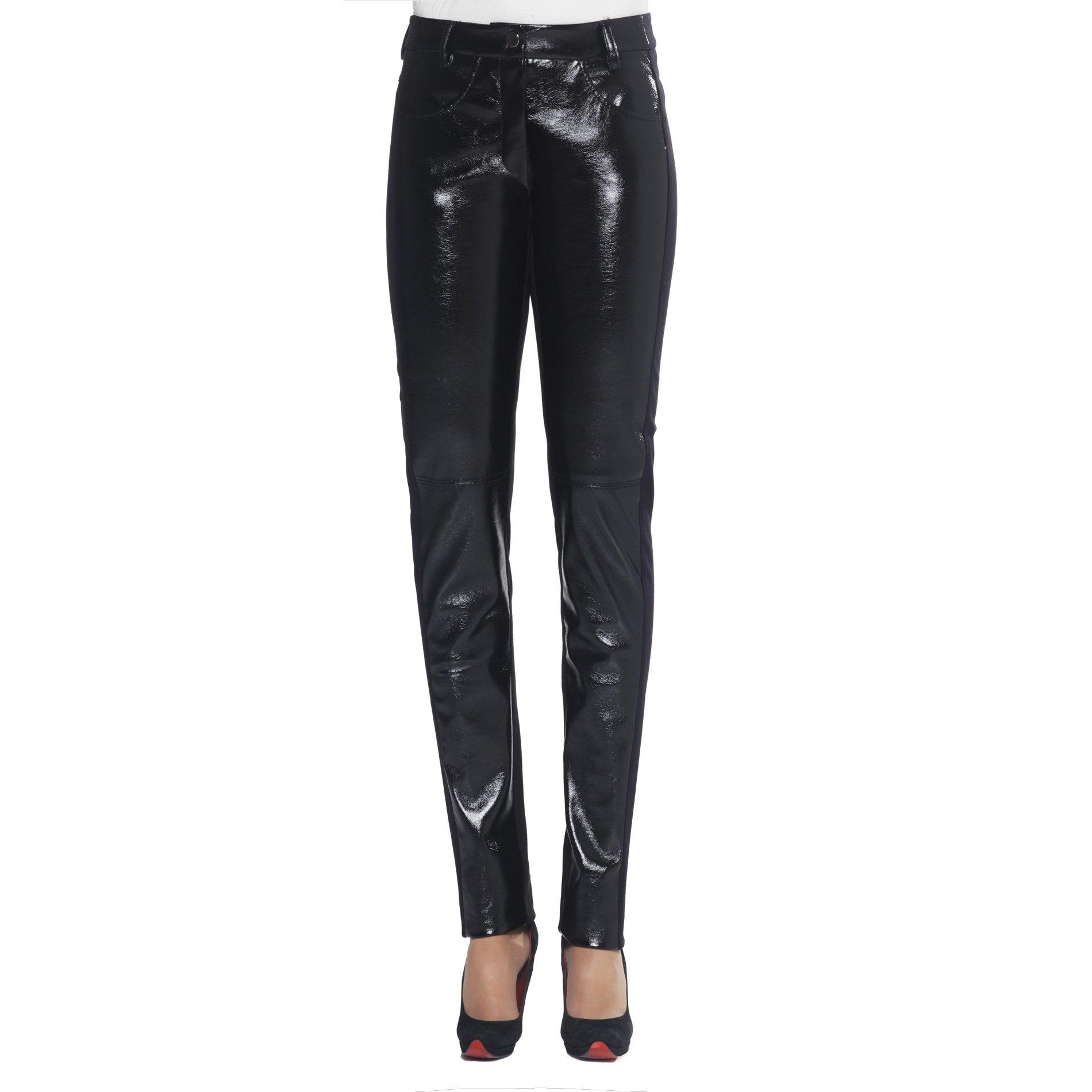 X'S Milano, X'S milano pantaloni donna, pantaloni neri, pantaloni vernice neri con tasche