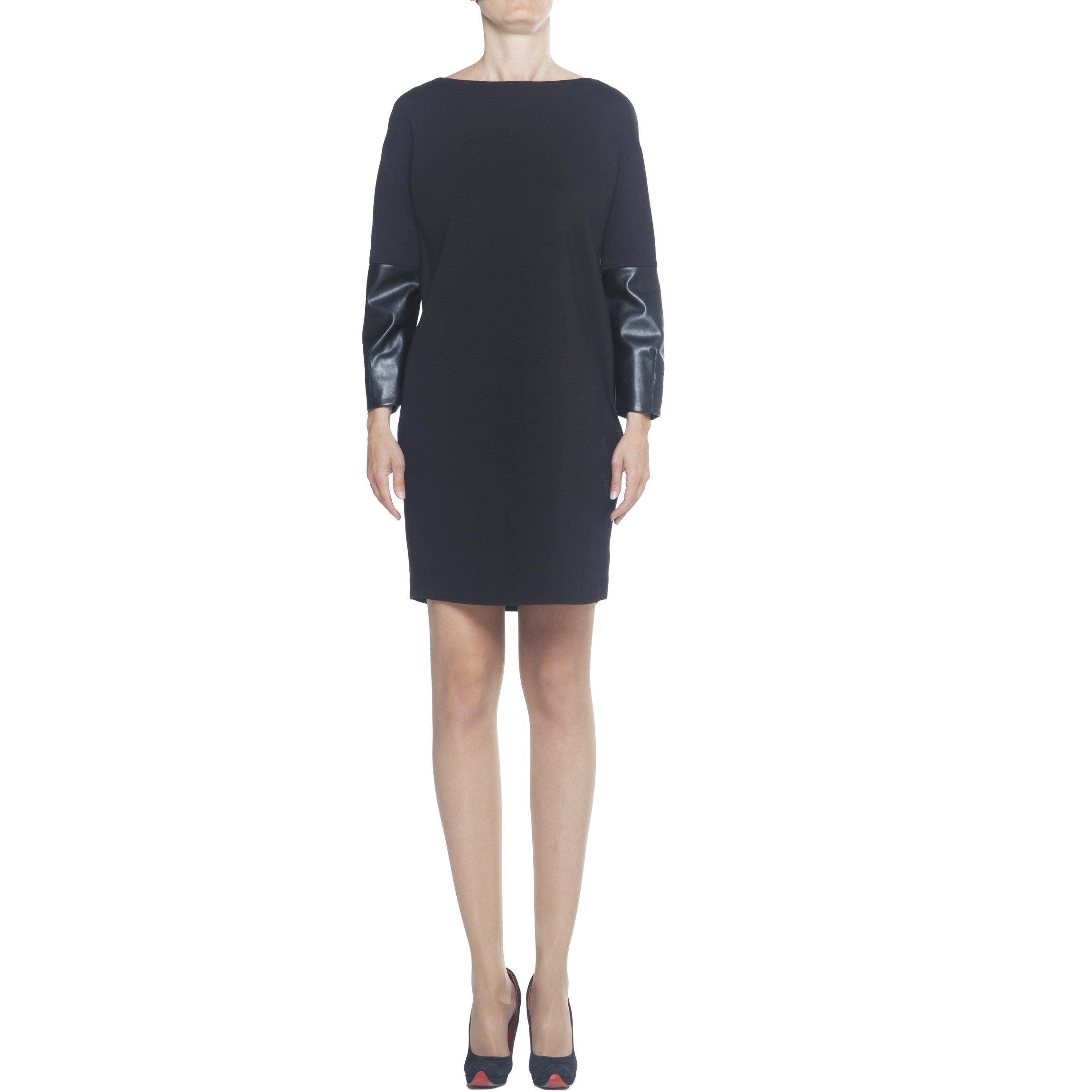 Trussardi Jeans, abito donna nero, abito a tunica nero, abito midi ecopelle