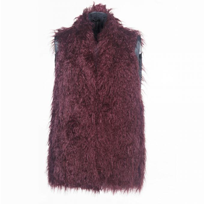 Please gilet donna smanicato peloso bordeaux con inserto in ecopelle