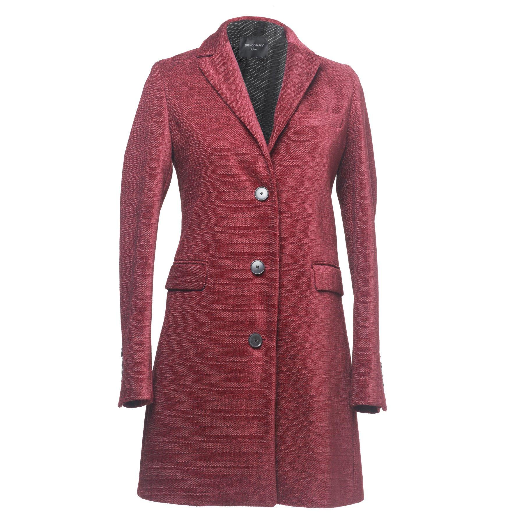 SHENOGRAPHY - cappotto donna bordeaux maniche lunghe con bottoni