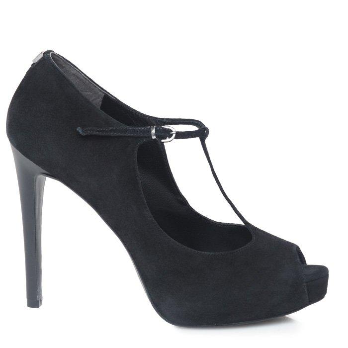 GUESS - scarpa donna nera open toe in suede con tacco alto, plateau, chiusura a T